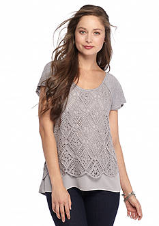 Red Camel® Solid Lace Overlay Top