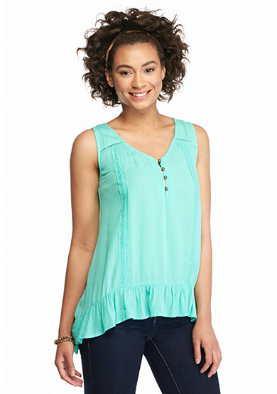 Red Camel® Sleeveless Ruffle Trim Button Top