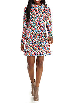 Red Camel Printed Mock Neck Dress