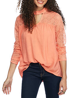 Red Camel High Neck Cutout Blouse with Lace Sleeves