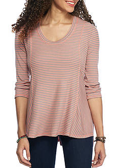 Red Camel 3/4 Sleeve Hi-Low Striped Tee