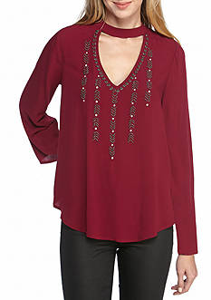 Red Camel Cutout Neck Swing Top With Embroidery