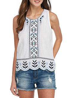 Red Camel Sleeveless Scalloped Embroidered Woven Top
