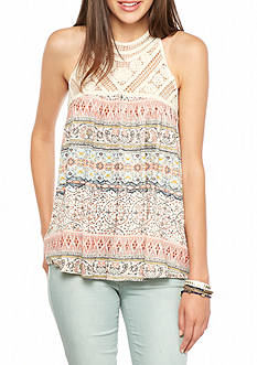 Red Camel Knit Tank With Crochet Neckline