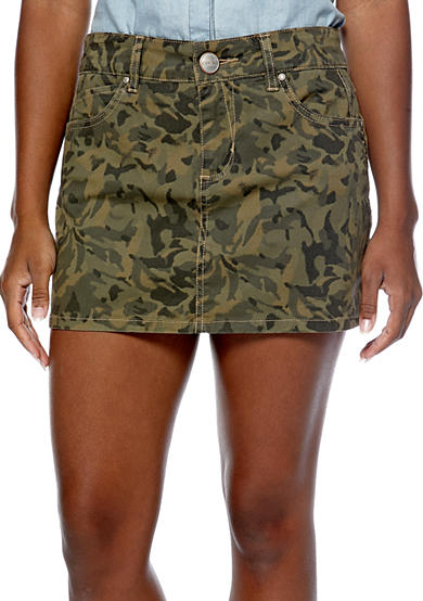 Chord Camouflage Printed Mini Skirt