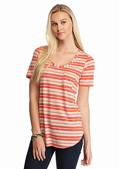 Pretty Rebellious Short Sleeve Striped Pocket Tee