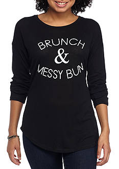 Rebellious One Brushed Hacci Scoop Pullover 'Brunch & Messy Bun'
