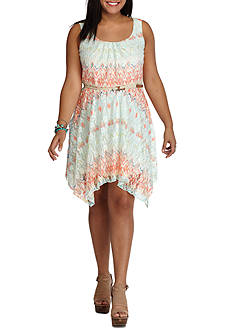 Lily White Plus Size Chevron Belted Dress