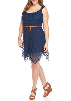 Lily White Plus Size Belted Laser Cut Dress