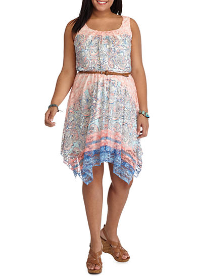 Lily White Plus Size Belted Border Print Dress