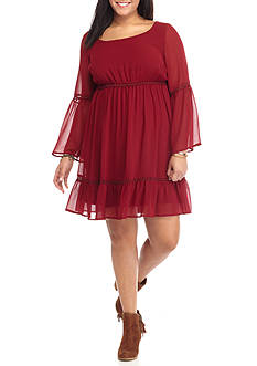 Lily White Plus Size Solid Bell Sleeve Dress