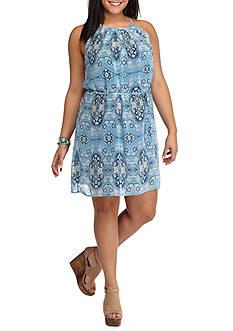 Lily White Plus Size Printed Sleeveless Dress