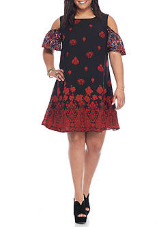 Lily White Plus Size Cold Shoulder Dress