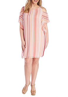 Lily White Plus Size Stripe Cold Shoulder Ruffle Dress