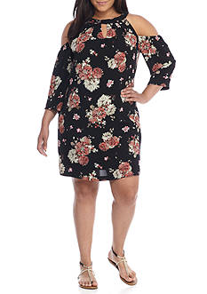 Lily White Plus Size Cold Shoulder Floral Dress