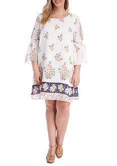 Lily White Plus Size Flounce Sleeve Border Print Shift Dress