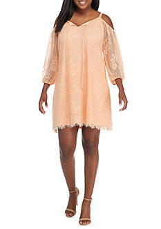 Lily White Plus Size Lace 3/4 Cold Shoulder Sleeve Dress