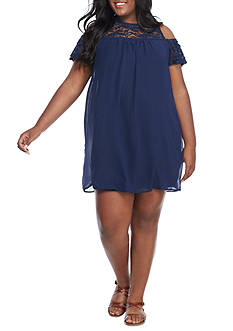 Lily White Plus Size Cold Shoulder Lace Yoke Dress