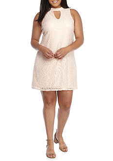 Lily White Plus Size Lace Keyhole Sleeveless Dress