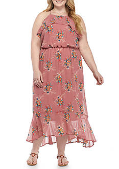 Lily White Plus Size Ruffle Halter Maxi Dress
