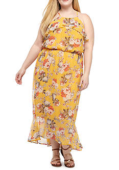 Lily White Plus Size Ruffle Halter Floral Print Maxi Dress