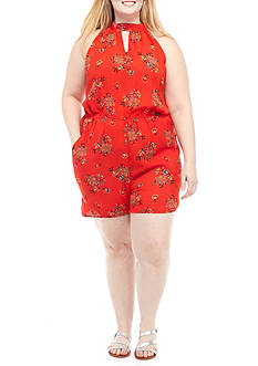 Lily White Plus Size Sleeveless Ruffle Floral Print Romper