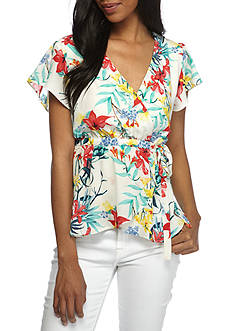 June & Hudson Tropical Floral Wrap Top