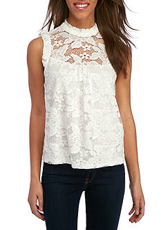 Lily White Mock Neck All Lace With Cap Sleeves Top
