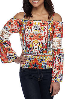 Lily White Cold Shoulder Caribe Floral Blouse