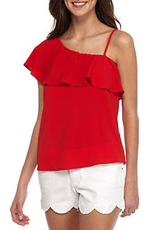 Lily White One Shoulder Woven Top