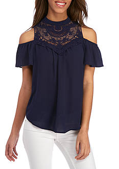 Lily White Lace High Neck Top With Cold Shoulder Sleeves
