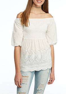 Lily White Off the Shoulder Top with Smocked Eyelet Bottom