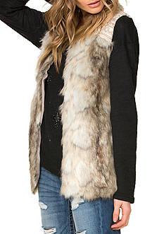 Miss Me Embroidered Trim Faux Fur Vest