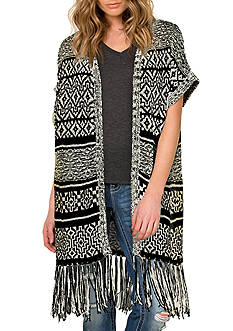 Miss Me Fringe Trim Tribal Long Cardigan