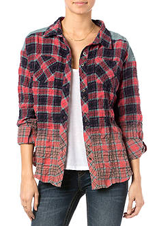 Miss Me Pieced Plaid Button Down Blouse