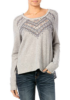 Miss Me Embroidered Print Back Top