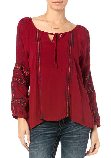 Miss Me Embroidered Tie Neck Blouse