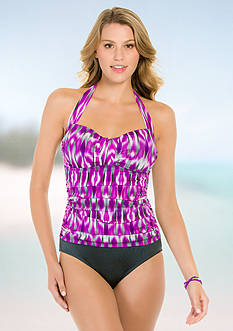 Eco Swim Eco Mist Gathered Halter Mio One-Piece Swimsuit