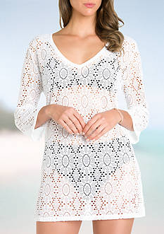 Eco Swim Crochet Trim Swim Tunic Cover Up