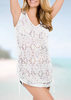 Eco Swim Crochet Shirred Side Cover Up Dress