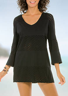 Eco Swim Spliced V-Neck Tunic Swim Cover Up