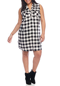 Red Camel® Plus Size Sleeveless Plaid Dress