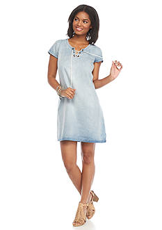 As U  Wish Short Sleeve Chambray Embroidered Dress