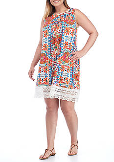 Red Camel® Plus Size Printed Lace Hem Knit Dress