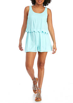 Red Camel Scalloped Popover Romper