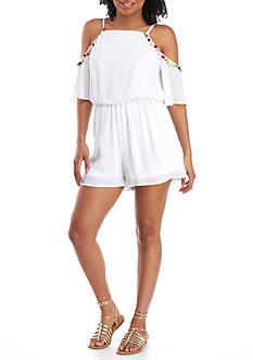 Red Camel Pom Pom Trim Romper