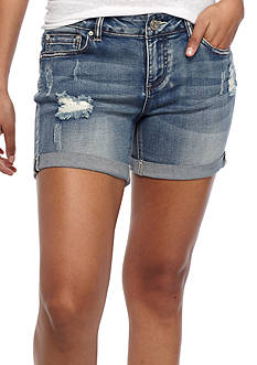 Indigo Rein Slight Destruction Clean Roll Cuff Shorts