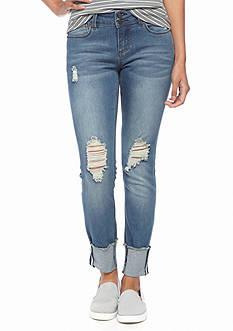 Indigo Rein Dark Destructed Skinny Jeans