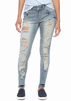 Indigo Rein Destructed Cuff Skinny Jeans