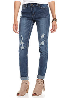 Indigo Rein Destructed Medium Wash Cuff Skinny Jeans